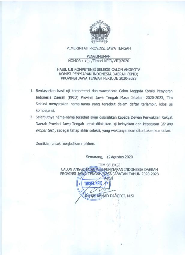 Hasil Uji Kompetensi Seleksi Calon Anggota Komisi Penyiaran Indonesia Daerah (KPID) Provinsi Jawa Tengah Periode 2020-2023